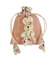 """Подарочная сумочка """"Зайка"""" одежда в цветочек"""