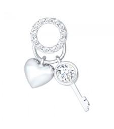 "Серебряный кулон ""Сердце и ключ"""