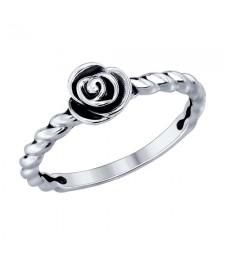 """Кольцо из черненного серебра """"розочка"""""""