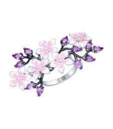 """Кольцо из серебра с эмалью и аметистами """"Орхидеи"""""""